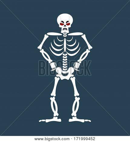 Skeleton Angry Emoji. Skull Grumpy Emotion Isolated. Human Bones