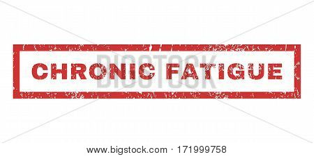 Chronic Fatigue text rubber seal stamp watermark. Tag inside rectangular banner with grunge design and scratched texture. Horizontal vector red ink sticker on a white background.