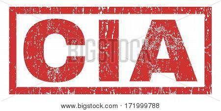 CIA text rubber seal stamp watermark. Tag inside rectangular banner with grunge design and unclean texture. Horizontal vector red ink sticker on a white background.