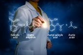 Biochemist writes Synthesis of acetylsalicylic acid concept. poster