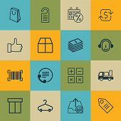 Set Of 16 Ecommerce Icons. Includes Ticket, Outgoing Earnings, Dollar Banknote And Other Symbols. Beautiful Design Elements. poster