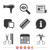 Hairdresser icons. Scissors cut hair symbol. Comb hair with hairdryer sign. Newspaper, information and calendar icons. Investigate magnifier, chat symbol. Vector poster