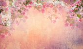 Spring cherry blossom vintage background. Sakura flowers on canvas. Painting style floral art on expressive shabby fabric texture poster
