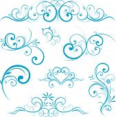Blue swirling flourishes floral elements poster