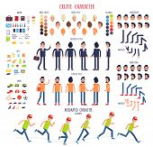 Create character. Set of different illustrations with body parts. Work. Rest. Sport. Hair style. Skin. Clothes. Emotions. Moves. Animated characters Business casual style Cartoon design Vector poster