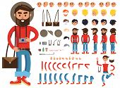 Man constructor. Man with photograph and bag. Separate part of male person. Icons with different emotions on face. Various types of faces. Front, side, back view of man. Bended hands, legs. Vector poster