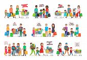 Collection of icons with family shopping. The history of our shopping. Favorite shopping. Pleasure of shopping. Shopping as pastime. Families gathered together with carts and goods inside. Vector poster