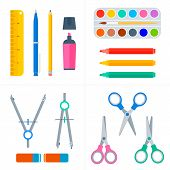 Education and school workplace supply set. Vector flat illustration of pupil stationery. Isolated on white background school objects and tools. Education workspace equipment. Web infographic elements. poster