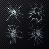 Set of isolated glass hole or screen cracks, smashed or broken window. Shattered isolated background of destruction, breaking or broken frame surface. Crime and anger, vandalism and vandal theme poster