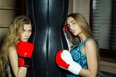 Two pretty girls or beautiful women cute sexy fit female boxers sparring partners in sportswear and red boxing gloves training to punch with punching bag in fitness gym poster