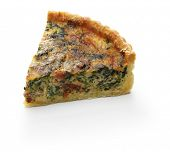 homemade spinach bacon quiche, florentine quiche, french food poster