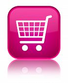 Ecommerce icon isolated on special pink square button abstract illustration poster