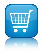 Ecommerce icon isolated on special cyan blue square button abstract illustration poster