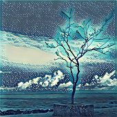 Digital illustration - Lonely tree on the sea shore. Silhouette of lifeless tree on the beach. Watercolor and etching style of ocean view. Poster banner template or print background. Conceptual image poster