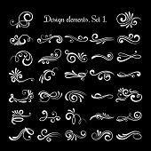 Vector line vintage scroll items for ornate design. Flourish retro lined divider. Filigree scroll swirl of set illustration poster