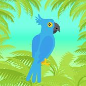Blue macaw flat design vector. Wild rare amazonian bird. Exotic parrot sitting in palm trees brunches. Tropical fauna species. For nature concepts, children s books illustrating, printing materials poster