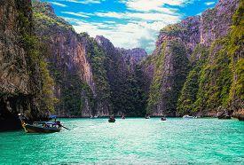 Pileh blue lagoon at Phi Phi islands Krabi Thailand.