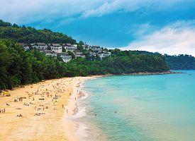 Panorama of Naithon sea public beach. Phuket Thailand