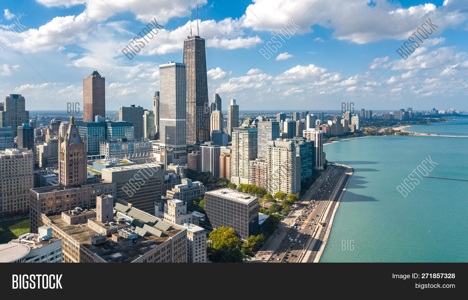 Chicago Skyline Aerial Image Photo Free Trial Bigstock