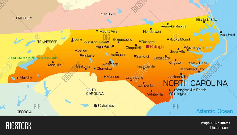 Carolina Del Norte Mapa.Vector Color Map Vector Photo Free Trial Bigstock