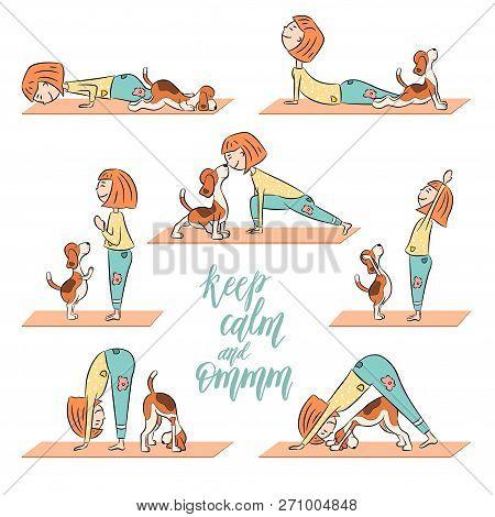Cartoon Dog Beagle With Girl Doing Yoga