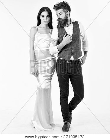 Woman In Wedding Dress And Man In Vest. Wedding Concept. Bearded Hipster With Bride Dressed Up For W