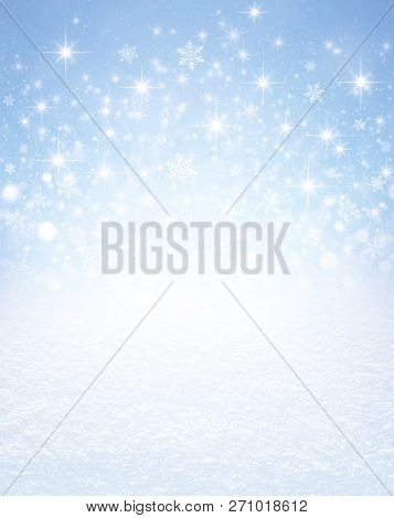 Snowflakes Shapes And Bright Stars Exploding On An Icy Blue Background And White Snow Covered Ground