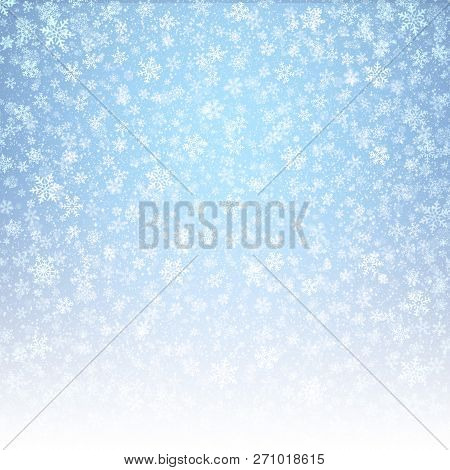 White Snowflakes Shapes And Falling Snow On An Icy Blue Background. Winter Seasonal Material.