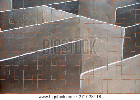 Metal Labyrinth With Tile Pattern As A Template