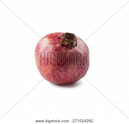 Red Pomegranate Isolated On White Background. Top View. Pomegranate Isolated On White Background. Sw