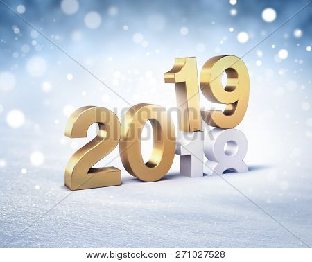 Gold New Year Date 2019 Above 2018, On A Winter Snow Background - 3d Illustration
