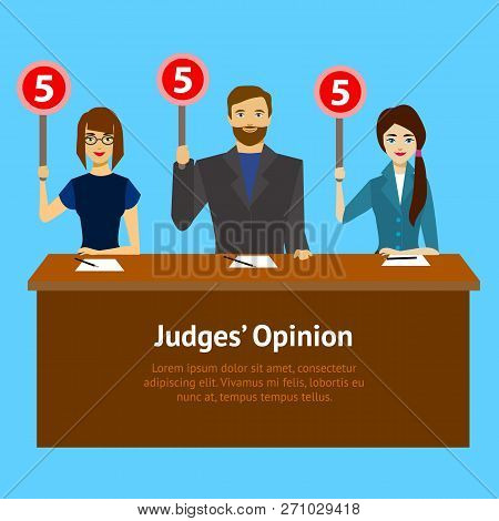 Cartoon Judges Jury Characters Card Poster. Vector poster
