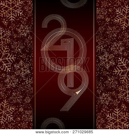 Christmas New Year 2019 Luxury Banner With Gold Snowflakes Glitter Red Festive Banner Layout Card Ch