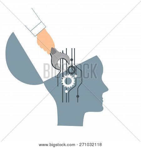 Nlp Or Neuro-linguistic Programming Concept. Open Human Head And A Hand With A Wrench. Manipulation,