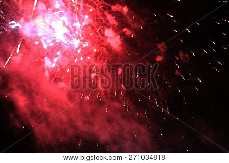 Fireworks. Firework. Heavenly Background. Colorful Wave Of Bright Twinkling Purple Glittering Lights