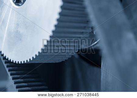 Closeup Driving Pulley Of The Lead Screw  Of The Cnc Machine In The Light Blue Scene.the Hi-precisio