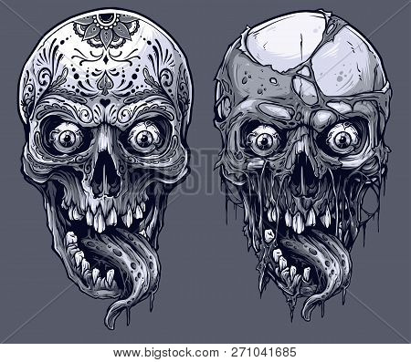 Detailed Graphic Realistic Cool Black And White Human Skulls With Horrible Long Tongue And Mexican T