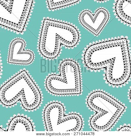 Quirky White And Black Line Art Doodle Hearts As Seamless Vector Pattern On Bright Blue Background.