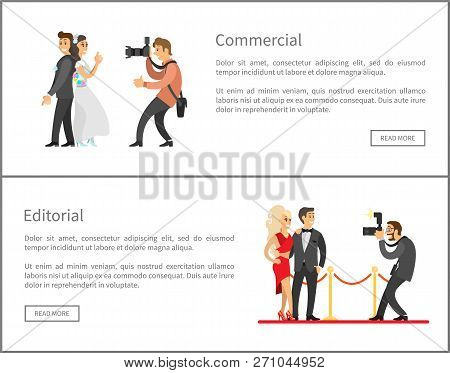 Photographer and paparazzi online banners set. Wedding photo, bride next to groom, celebrities couple on red carpet cartoon vector illustrations. poster