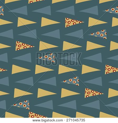 Yellow Blue Triangle Flow On Dark Blue Background