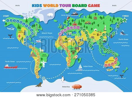 Board Game Vector World Gaming Map Boardgame With Ocean Continents Gameboard Illustration Set Of Glo