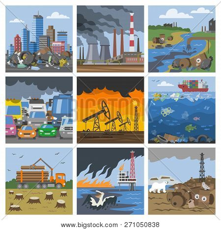 Pollution Environment Vector Polluted Air Smog Or Toxic Smoke Of Industrial City Illustration Citysc
