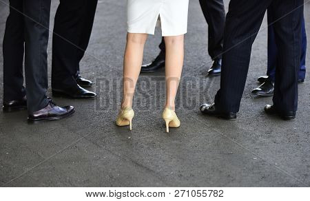 Think Of Them As Your Workhorse Shoe. Female And Male Legs In Shoes. Womens Shoes On High Heels. Cla
