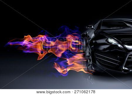 Black sports car and fire flames. Non-branded original car design. 3D illustration.