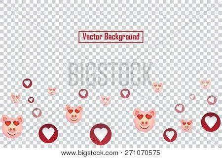 Social Nets Pig Smile And Red Heart Floating Web Buttons Isolated On Transparent Background. Pig Smi