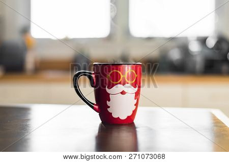 Cute Festive Holiday Photo Of Bright Red Seasonal Santa Christmas Coffee Mug With Hipster Beard And
