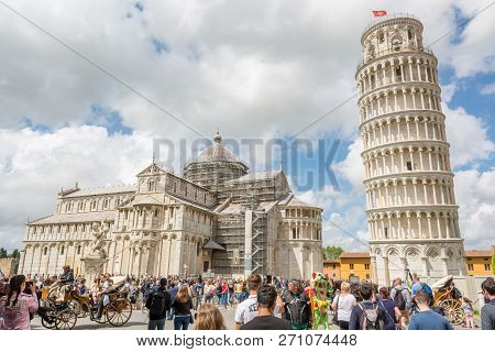 Pisa, Italy - April 30: People At The Venue Of Leaing Tower Of Pisa, On April 30 2018 In Pisa, Italy
