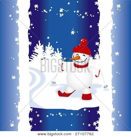 Happy Skiing Snowman (Fully Editable Vector Image)