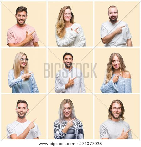 Collage of group people, women and men over colorful yellow isolated background cheerful with a smile of face pointing with hand and finger up to the side with happy and natural expression on face