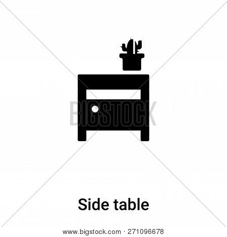 Side Table Icon In Trendy Design Style. Side Table Icon Isolated On White Background. Side Table Vec